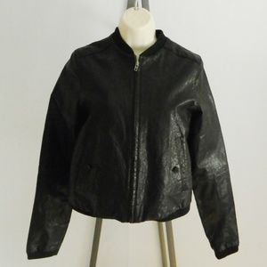 Zara Collection Black Lambs Leather Jacket Small